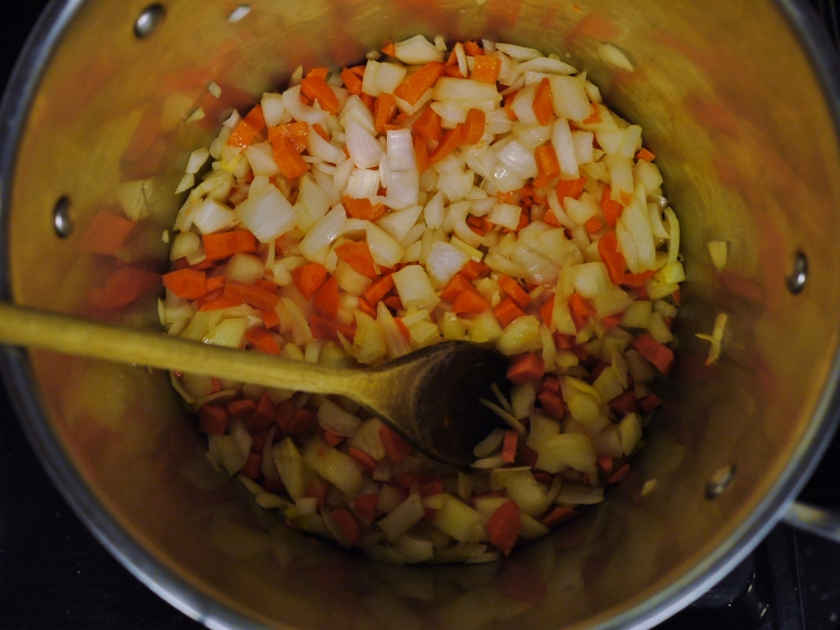 Saute onions and carrots